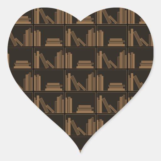 Libros de Brown oscuro en estante Calcomanía Corazón Personalizadas