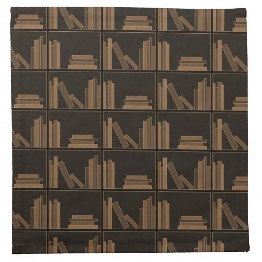 Libros de Brown oscuro en estante Servilletas