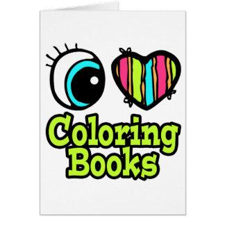 Libros de colorear brillantes del amor del corazón tarjeta de felicitación