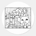 Libros de hadas del gato W Pegatina Redonda