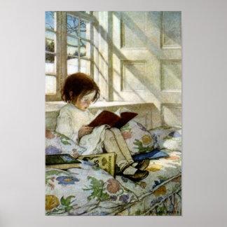 """Libros de Jesse Willcox Smith """"en invierno"""" Póster"""