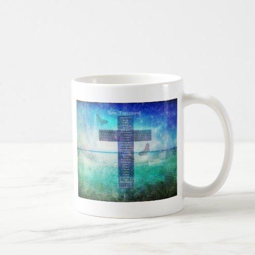 Libros de la biblia del nuevo testamento taza básica blanca