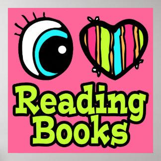 Libros de lectura brillantes del amor del corazón póster