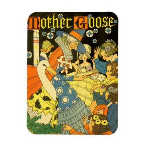 Libros de lectura de la mamá ganso del vintage a iman rectangular
