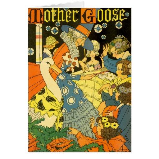 Libros de lectura de la mamá ganso del vintage a l tarjetón