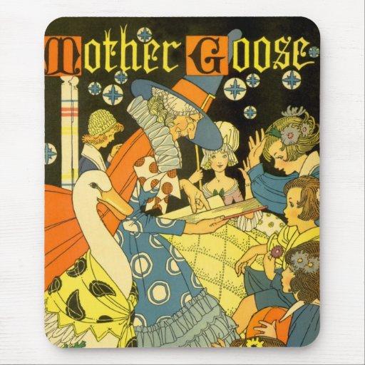Libros de lectura de la mamá ganso del vintage a mouse pad