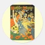 Libros de lectura de la mamá ganso del vintage a pegatina redonda