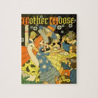 Libros de lectura de la mamá ganso del vintage a rompecabezas con fotos