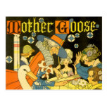 Libros de lectura de la mamá ganso del vintage a tarjeta postal