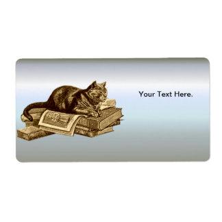 Libros de lectura del gato del gatito del ratón de etiquetas de envío