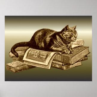 Libros de lectura del gato del gatito del ratón de póster