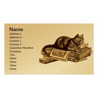 Libros de lectura del gato del gatito del ratón de plantilla de tarjeta de visita
