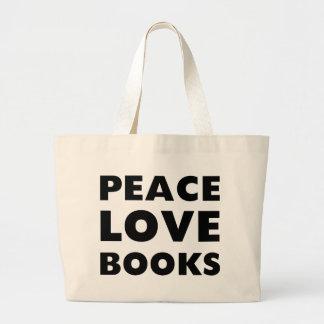 Libros del amor de la paz bolsa tela grande