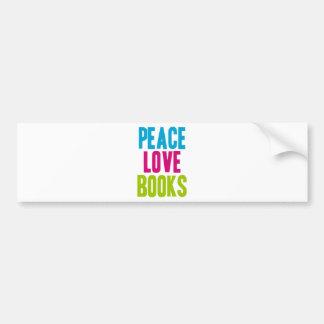 Libros del amor de la paz pegatina de parachoque