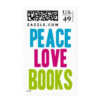 Libros del amor de la paz estampilla