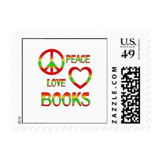 Libros del amor de la paz estampillas