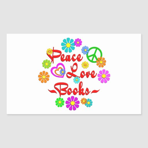 Libros del amor de la paz pegatina