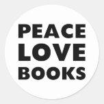 Libros del amor de la paz pegatinas redondas
