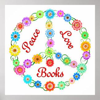 Libros del amor de la paz póster