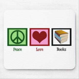 Libros del amor de la paz alfombrillas de raton