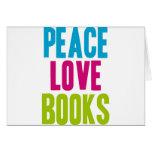 Libros del amor de la paz tarjetón