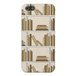 Libros del color de Brown y del moreno en estante iPhone 5 Coberturas
