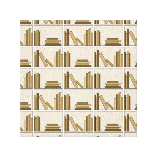 Libros del color de Brown y del moreno en estante Lienzo Envuelto Para Galerias