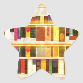 Libros del estante n del vintage calcomanía forma de estrella personalizadas