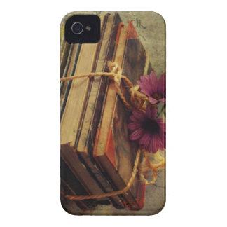 Libros del vintage, caja de las flores iPhone 4 Case-Mate protectores