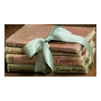 Libros del vintage con el escritor free lance de tarjetas de visita