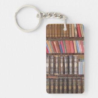 Libros del vintage llavero rectangular acrílico a doble cara