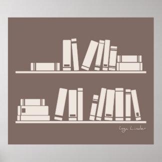 Libros en el estante para leer el amante o al sabe impresiones