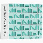 Libros en estante. Diseño en trullo y Aqua.