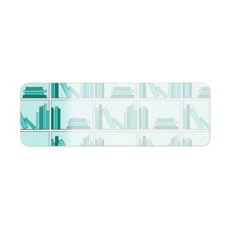 Libros en estante. Diseño en trullo y Aqua. Etiqueta De Remitente