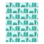 Libros en estante. Diseño en trullo y Aqua. Tarjetón