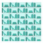 Libros en estante. Diseño en trullo y Aqua. Comunicados