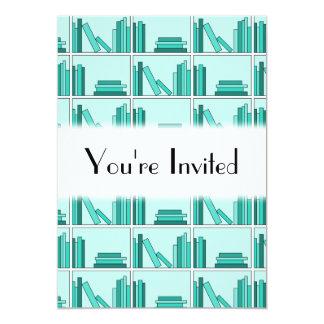 """Libros en estante. Diseño en trullo y Aqua. Invitación 5"""" X 7"""""""