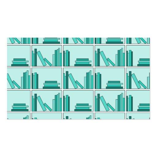 Libros en estante. Diseño en trullo y Aqua. Plantilla De Tarjeta De Negocio
