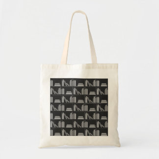 Libros en estante. Gris, blanco y negro. Bolsas