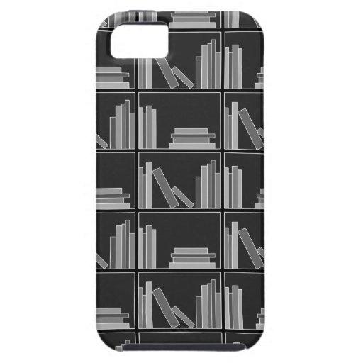 Libros en estante. Gris, blanco y negro. iPhone 5 Case-Mate Carcasas