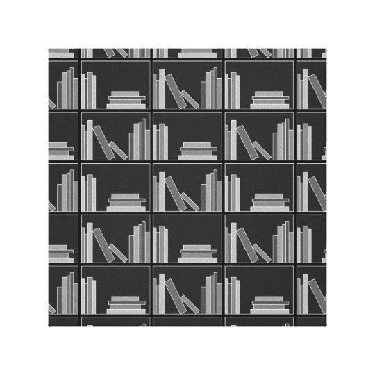 Libros en estante. Gris, blanco y negro. Impresión En Lienzo