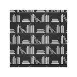 Libros en estante. Gris, blanco y negro. Lona Estirada Galerías