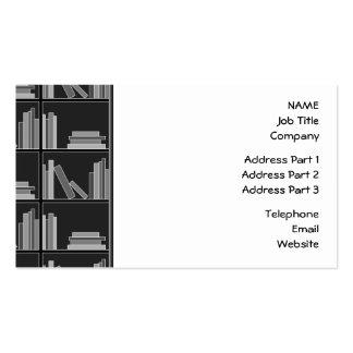 Libros en estante. Gris, blanco y negro. Tarjetas De Visita