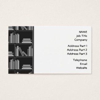 Libros en estante. Gris, blanco y negro. Tarjeta De Negocios
