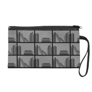 Libros en estante. Gris y negro