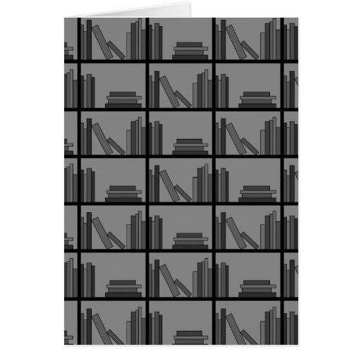 Libros en estante. Gris y negro Tarjeta De Felicitación