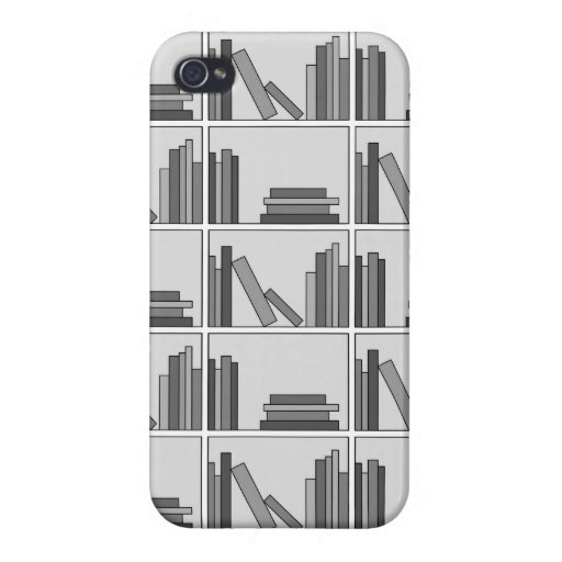 Libros en estante. Monocromático iPhone 4/4S Carcasa