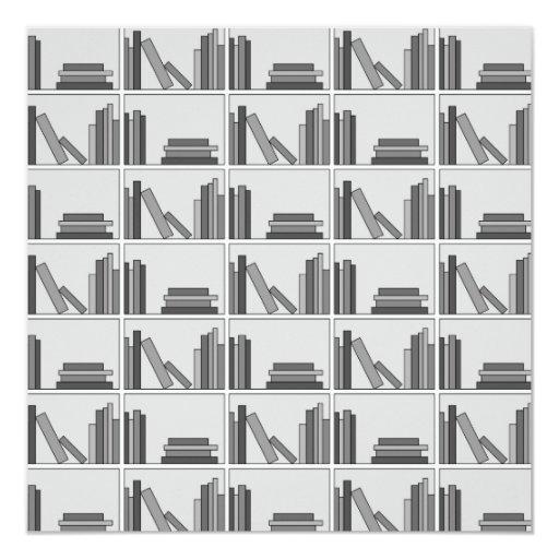 "Libros en estante. Monocromático Invitación 5.25"" X 5.25"""
