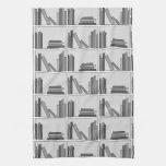 Libros en estante. Monocromático Toallas De Mano