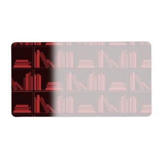 Libros en estante. Rojo oscuro. Etiquetas De Envío